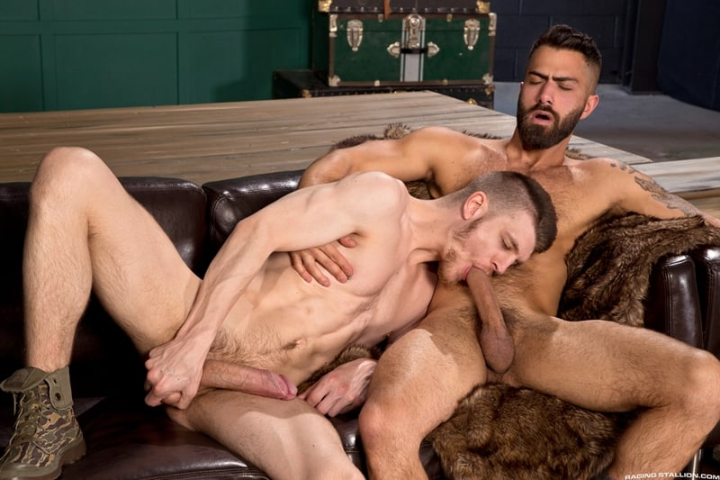 Bottom boy Adam Ramzi barks orders like a top inciting Caleb King to fuck him harder and rougher