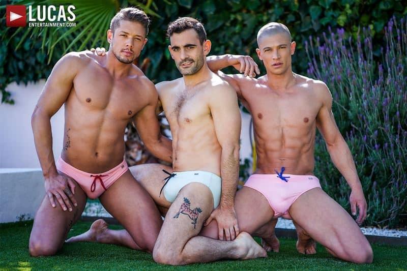 Hardcore bareback threesome Max Arion, Ruslan Angelo and Lorenzo Ciaos' big raw dick fucking