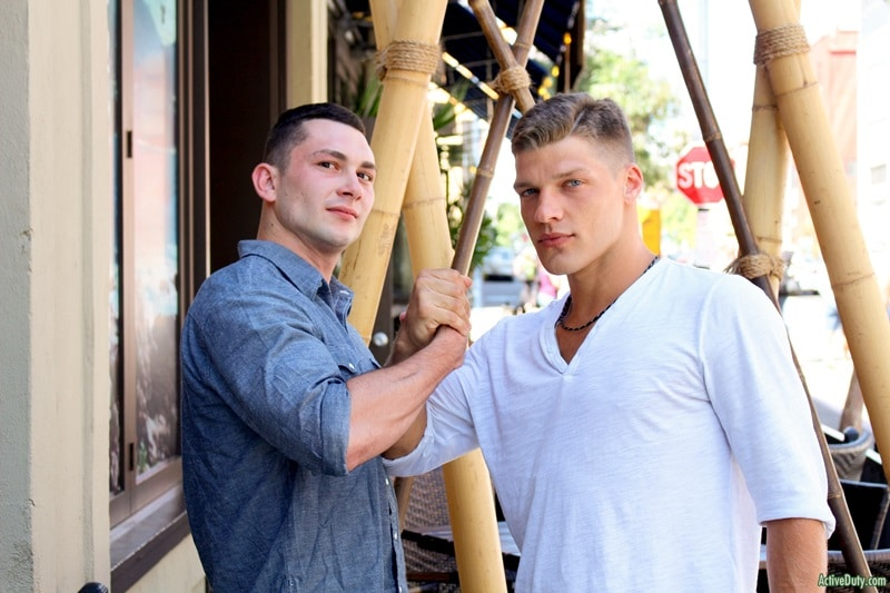 Bridger helps gay sex virgin Johnny to his first man on man blowjob