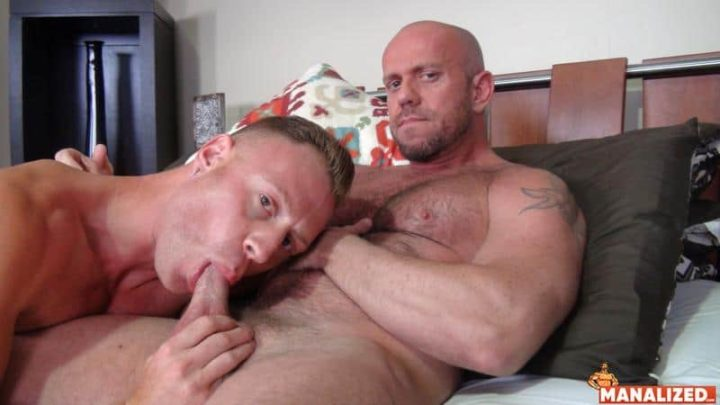 Hairy daddy Matt Stevens's hot asshole bare fucked by hot muscle dude Saxon West's huge dick