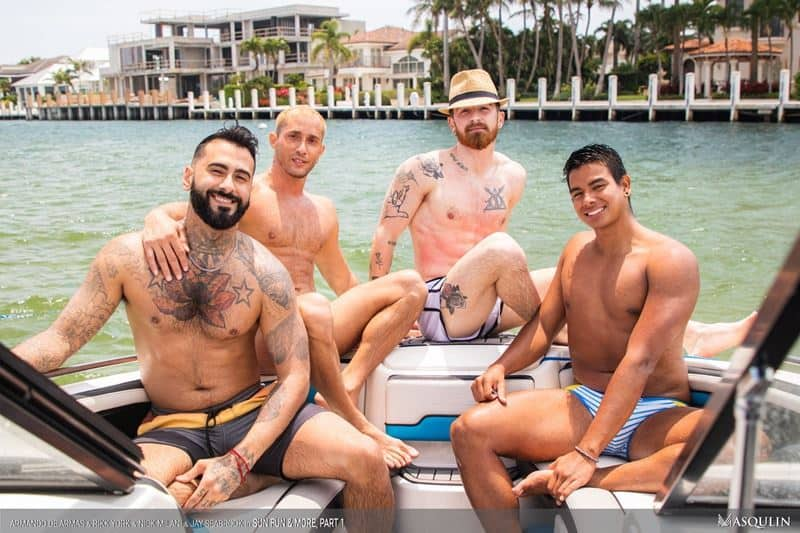 Masqulin hot foursome Armando De Armas, Rikk York, Jay Seabrook and Nick Milani hardcore ass fucking
