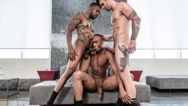 Ripped Aaron Reese's huge black dick fucking Beau Reed and Trent King's hot bubble asses