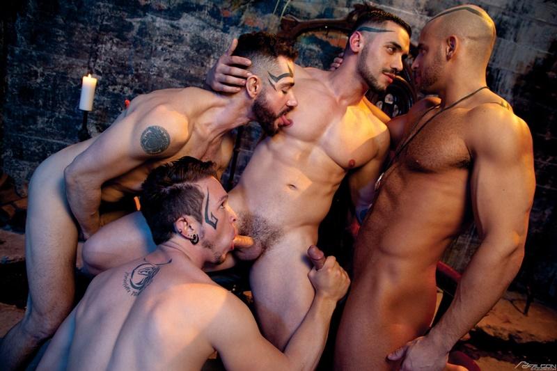 Hardcore ass fucking Dean Monroe, Sean Zevran, Gabriel Alanzo and Arad Winwin big cock anal fuck orgy