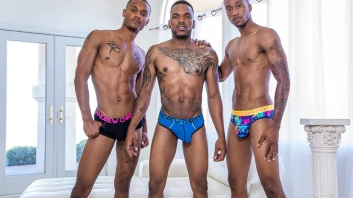 Hot black trio Aaron Reese and boyfriend Jigz Castelo three way fucking with sexy hunk Titus McMasters