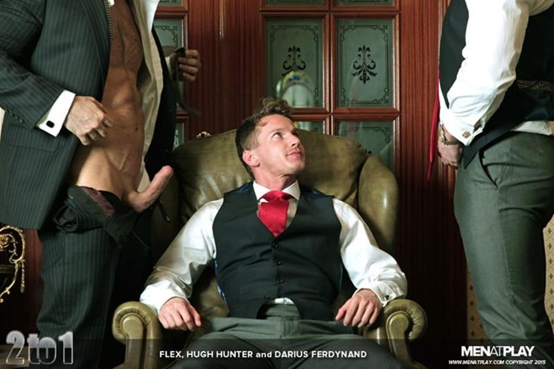 Hardcore gay porn threesome Darius Ferdynand, Flex Xtremmo and Hugh Hunter fucking