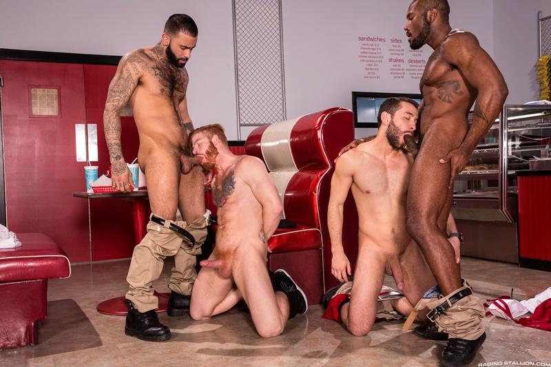 Hardcore ass fucking Noah Donovan, Bennett Anthony, Rikk York and Lucas Allen