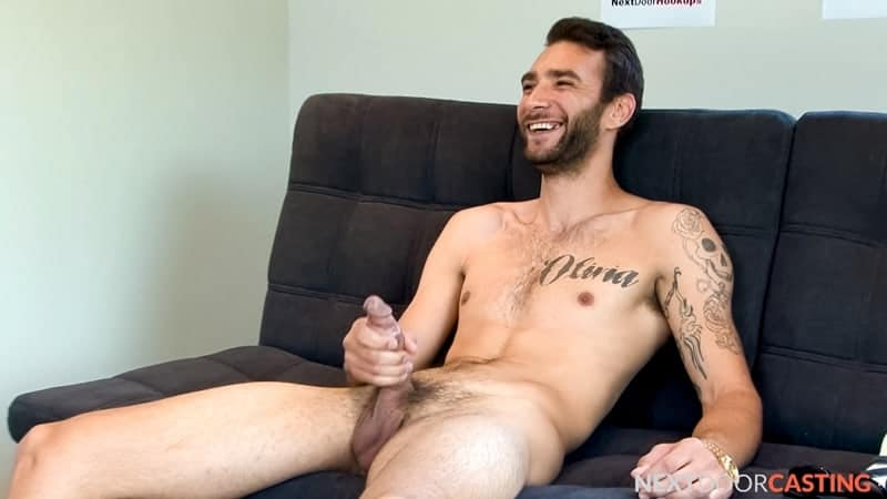 Sexy open minded straight young dude Brian Adams jerks his fat cock stroking out a full load of hot boy cum