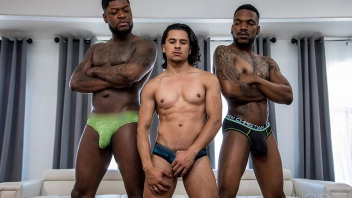 Sexy young dudes Aaron Reese and Armond Rizzo fight over Cali's huge black uncut dick