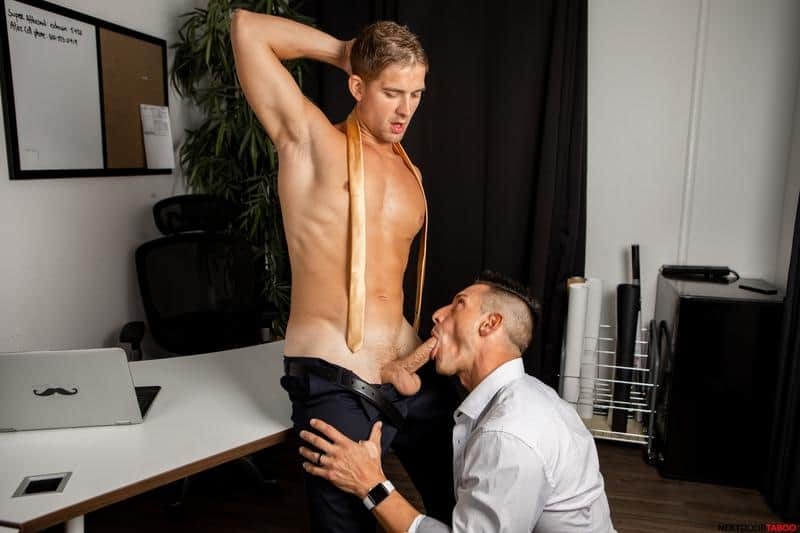 Blonde young stud Brandon Anderson's hot bubble ass bare fucked by Jax Thirio's huge thick dick