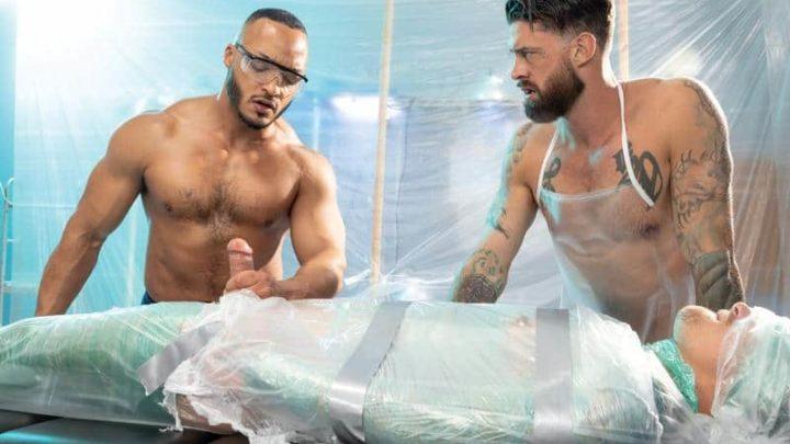 Bondage muscle stud Dillon Diaz and Alpha Wolfe jerk plastic encased Isaac X's huge cock