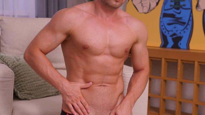 Hot Russian dude Dan Digiron strips naked jerking his big uncut cock to a massive cum orgasm