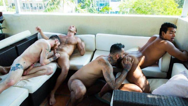 Hot gay sex foursome Armando De Armas, Jay Seabrook, Nick Milani and Rikk York bareback ass fucking