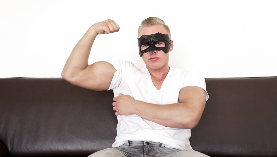 Sexy blond Mickey dons his mask and slips his hand inside his pants jerking his huge cock till he blows