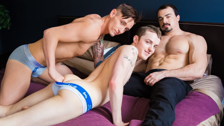 Hardcore ass fucking threesome Lance Ford, Dominic Green and Alex James big cock anal